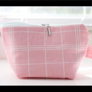 Handbags - Canvas pink plaid cosmetic bag